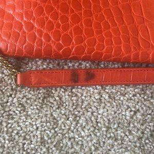 henri bendel Bags - Henri Bender Orange Croc Foldover Clutch